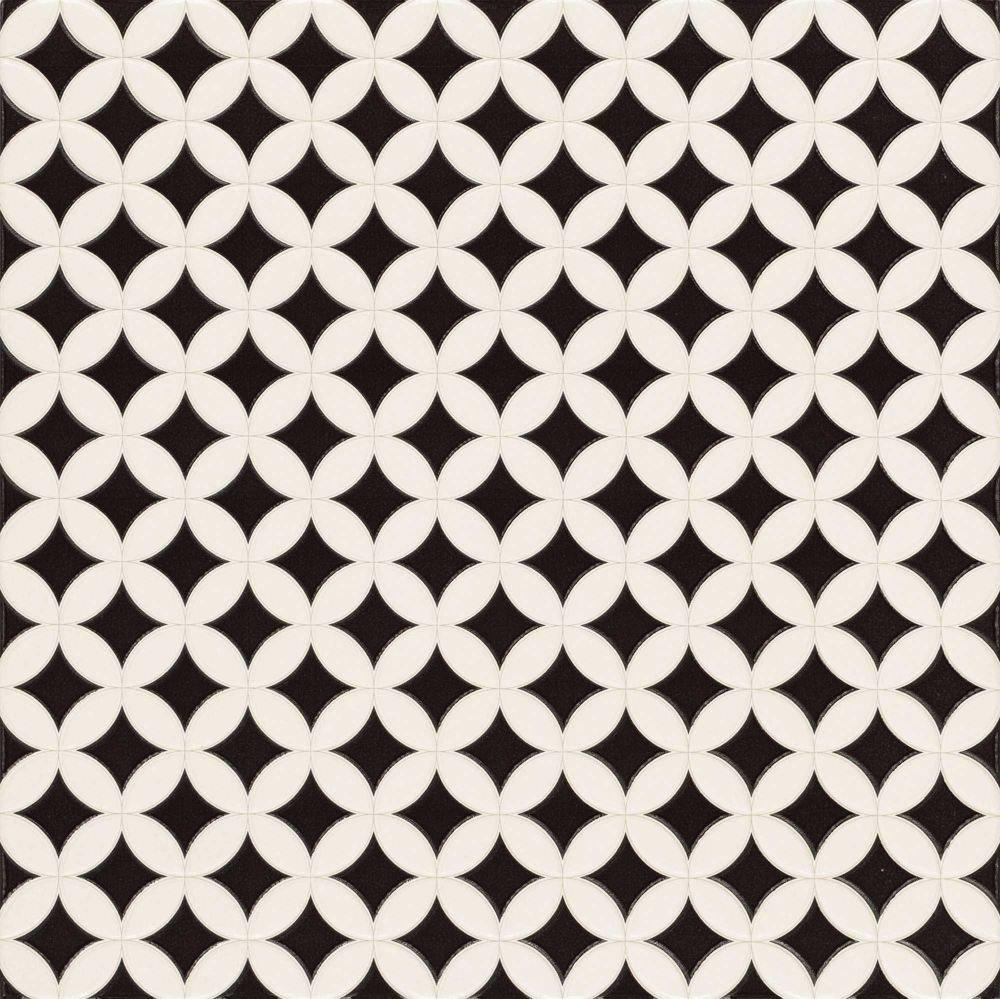Carrelage pétale noir et blanc ORLY 44x44 cm - 1.37m² - zoom