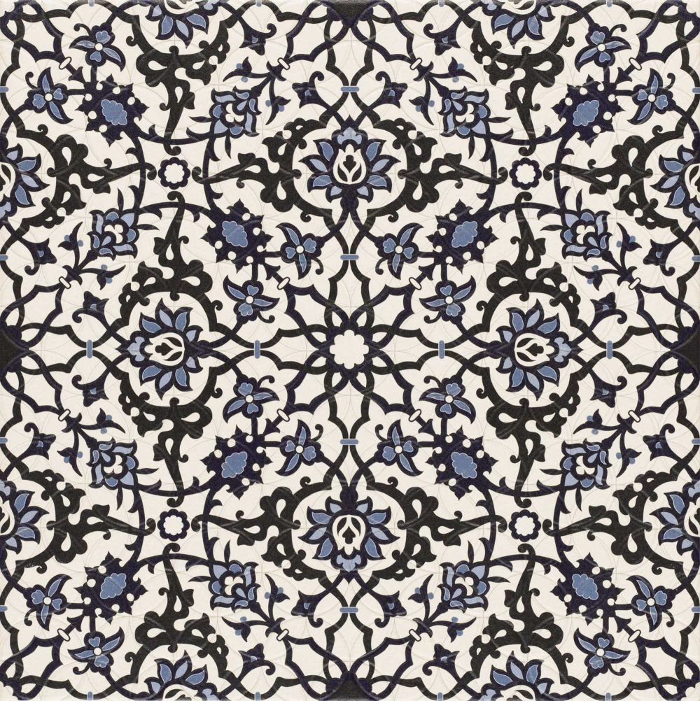 Carrelage azulejos fleurs bleues ORLY DECO 44x44 cm - 1.37m² - zoom