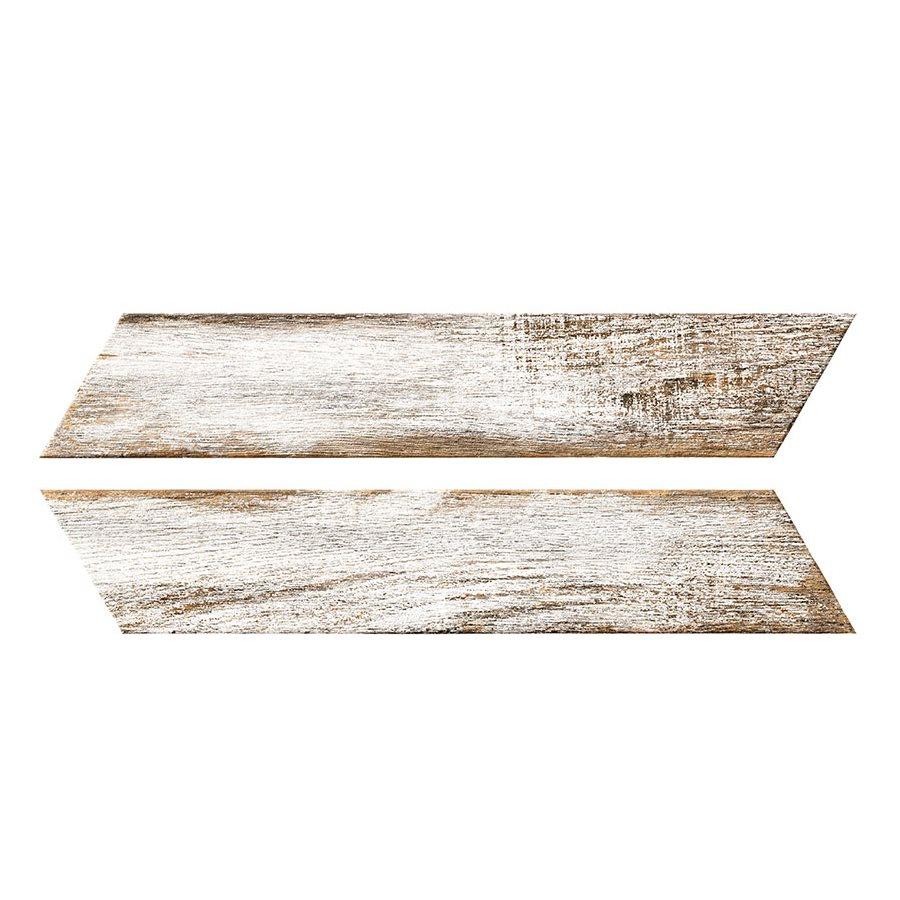 Chevron imitation bois blanc 8x40 cm BORA CHV WHITE espiga droite et gauche - 0.96 m² - zoom