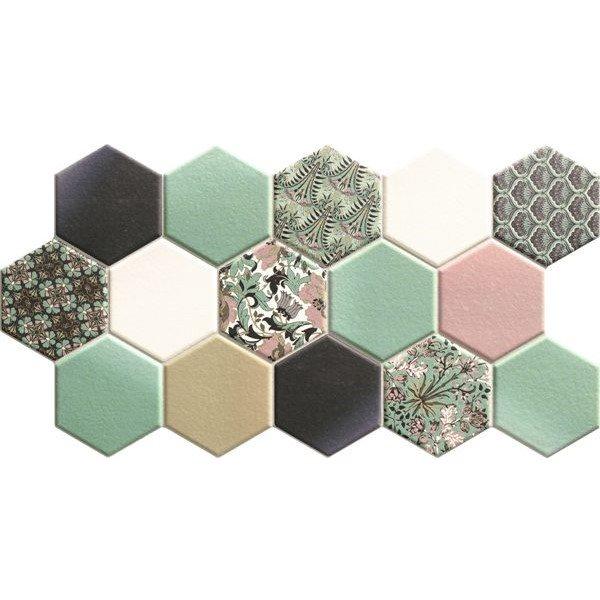 Carrelage tomette décorée style ciment pastel vert 26.5x51 cm HEX NOUVEAU GREEN - 0.95m² - zoom