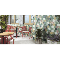 Carrelage tomette décorée style ciment pastel vert 26.5x51 cm HEX NOUVEAU GREEN - 0.95m² Realonda