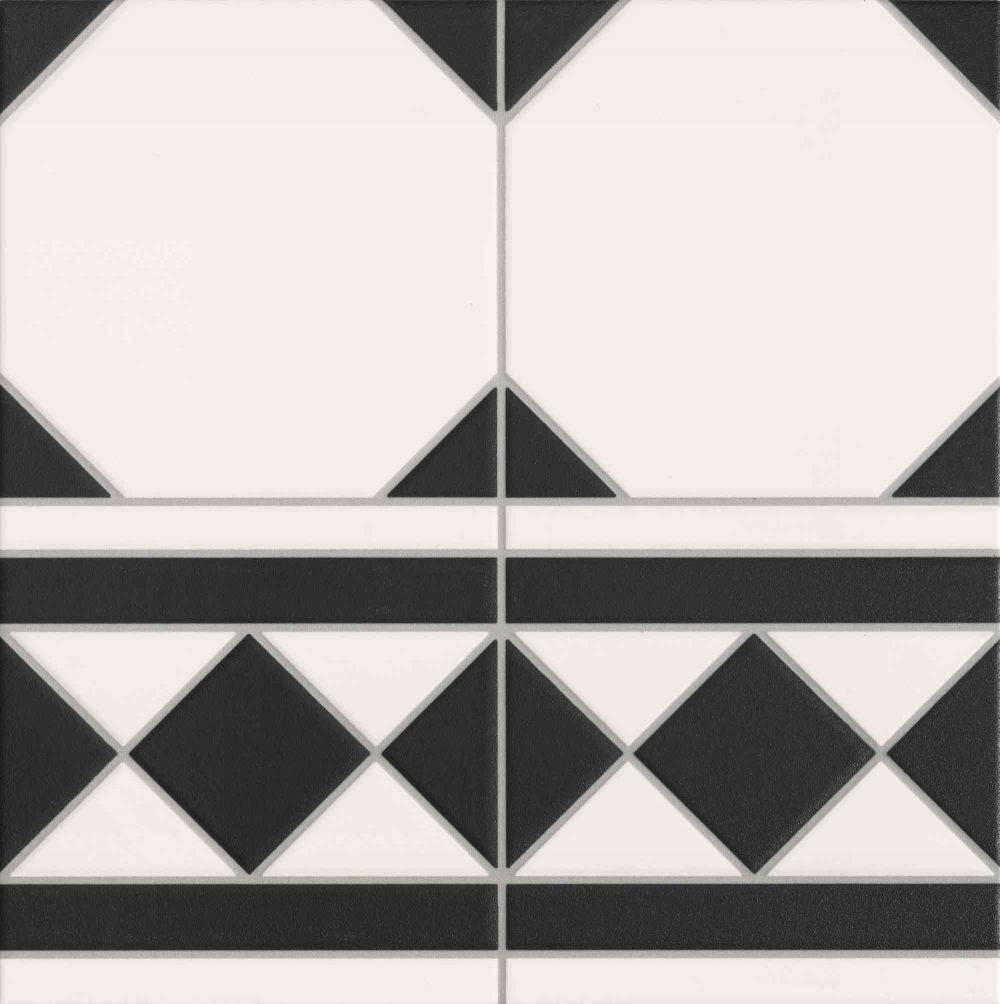 Carrelage à cabochon 33x33 cm OXFORD NEGRO CENEFA bord droit - 1m² - zoom
