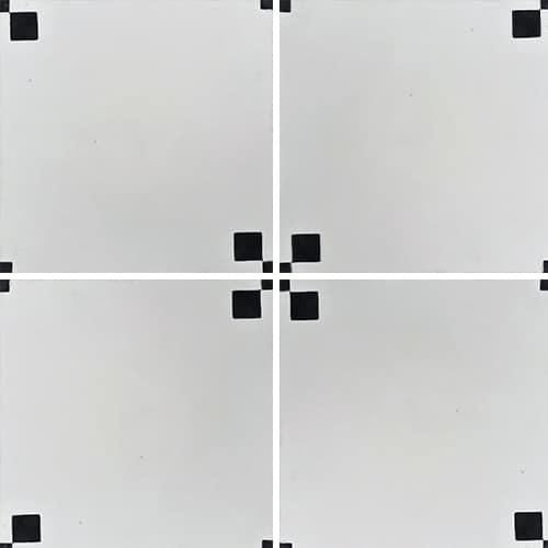 Carreau de ciment géométrique blanc et noir TIPIX 20x20 cm ref:160-1 - 0.48m² - zoom