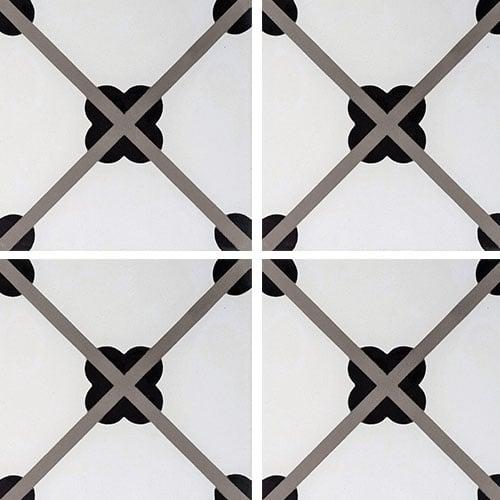 Carreau de ciment géométrique trèfle noir 20x20 cm ref7250-1 - 0.48m² - zoom