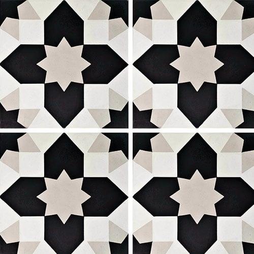 Carreau de ciment géométrique gris et noir 20x20 cm ref7590-1 - 0.48m² - zoom