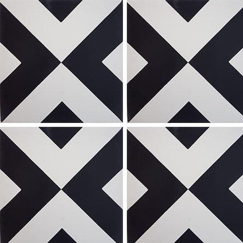 Carreau de ciment géométrique blanc et noir 20x20 cm ref RENEV - 0.48m² Carreaux ciment véritables