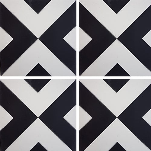 Carreau de ciment géométrique blanc et noir 20x20 cm ref RENEV - 0.48m² - zoom