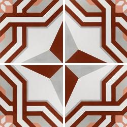Carreau de ciment décor étoile rouge 20x20 cm ref1200-2 - 0.48m² Carreaux ciment véritables