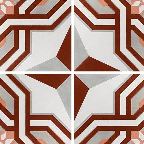 Carreau de ciment décor étoile rouge 20x20 cm ref1200-2 - 0.48m² - zoom