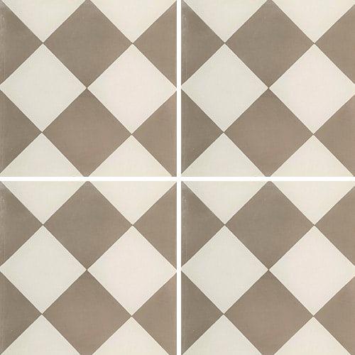 Carreau de ciment damier gris et blanc 20x20 cm ref310-1 - 0.48m² - zoom