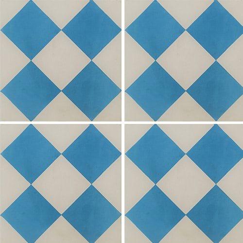 Carreau de ciment damier bleu et blanc 20x20 cm ref380-1 - 0.48m² - zoom