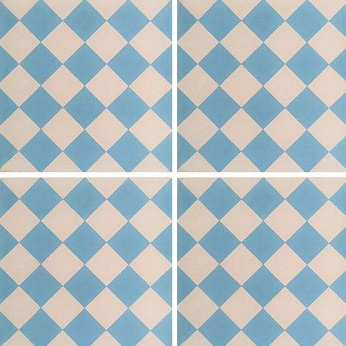 Carreau de ciment damier bleu clair et blanc 20x20 cm ref460-1 - 0.48m² Carreaux ciment véritables