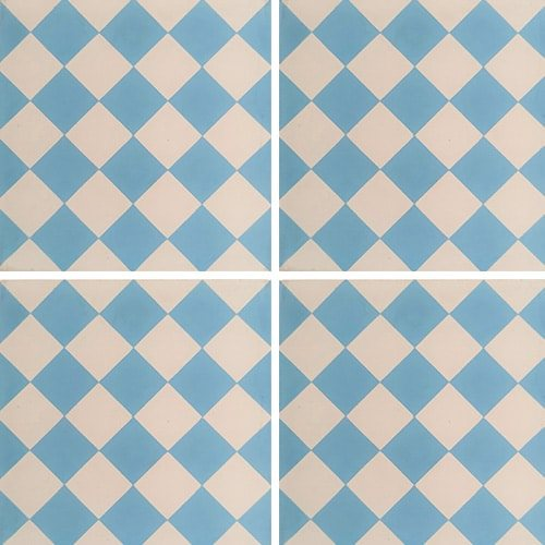 Carreau de ciment damier bleu clair et blanc 20x20 cm ref460-1 - 0.48m² - zoom