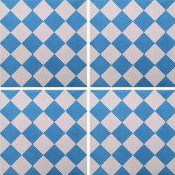 Carreau de ciment damier bleu et blanc 20x20 cm ref460-2 - 0.48m² Carreaux ciment véritables