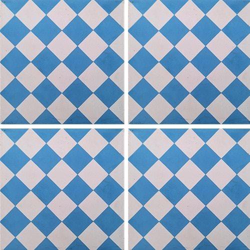 Carreau de ciment damier bleu et blanc 20x20 cm ref460-2 - 0.48m² - zoom