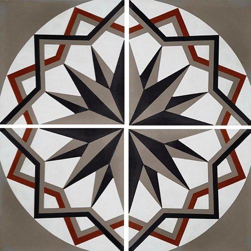 Carreau de ciment décor étoile anthracite noir 20x20 cm ref7010-2 - 0.48m² - zoom