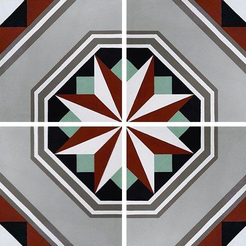 Carreau de ciment décor étoile noire anthracite 20x20 cm ref7050-1 - 0.48m² - zoom