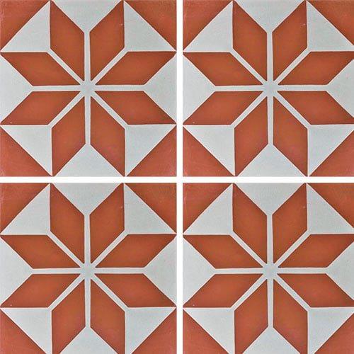 Carreau de ciment décor étoile rouge orangé 20x20 cm ref7070-3 - 0.48m² - zoom