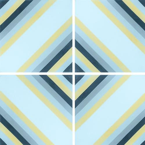Carreau de ciment effet rayé bleu, jaune 20x20 cm ref7130-1 - 0.48m² Carreaux ciment véritables