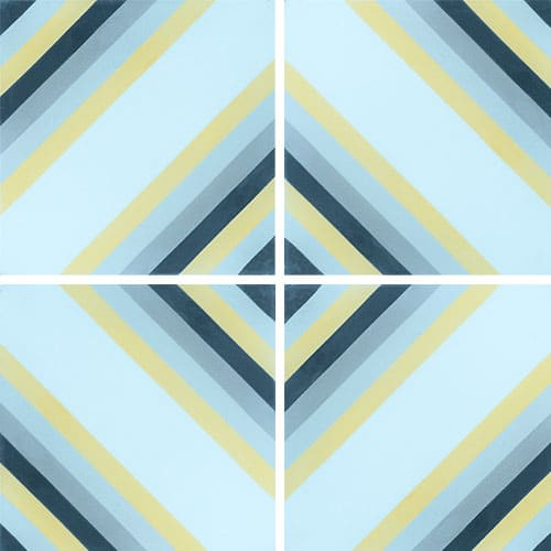 Carreau de ciment effet rayé bleu, jaune 20x20 cm ref7130-1 - 0.48m² - zoom