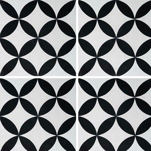 Carreau de ciment véritable Quatre feuilles noir et blanc 20x20 cm ref7180-3 - 0.48m² - zoom