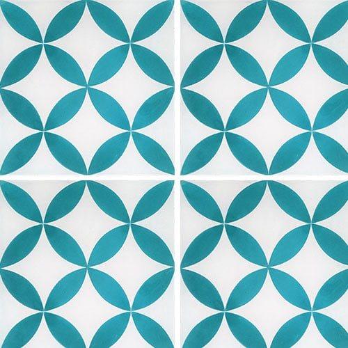 Carreau de ciment véritable Quatre-feuilles bleu turquoise 20x20 cm ref7180-6 - 0.48m² - zoom