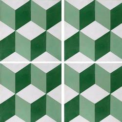 Carreau de ciment CUBE vert, blanc géométrique 20x20 cm ref7290-1 - 0.48m² Carreaux ciment véritables