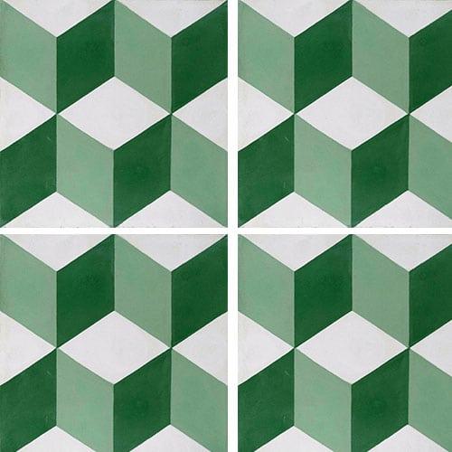 Carreau de ciment CUBE vert, blanc géométrique 20x20 cm ref7290-1 - 0.48m² - zoom