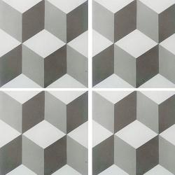 Carreau de ciment CUBE gris et blanc géométrique 20x20 cm ref7290-2 - 0.48m² Carreaux ciment véritables