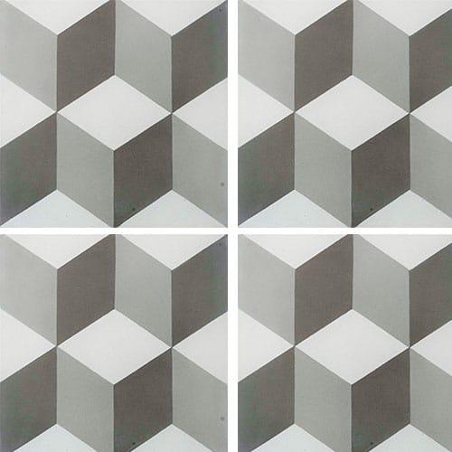 Carreau de ciment CUBE gris et blanc géométrique 20x20 cm ref7290-2 - 0.48m² - zoom