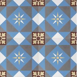 Carreau de ciment décor étoile multicolor 20x20 cm ref7600-1 - 0.48m² Carreaux ciment véritables