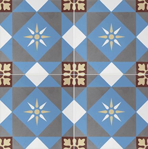 Carreau de ciment décor étoile multicolor 20x20 cm ref7600-1 - 0.48m² - zoom