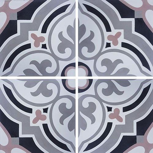 Carreau de ciment arabesque rose 20x20 cm ref7670-2 - 0.48m² - zoom