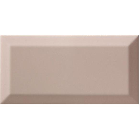 Carrelage Métro biseauté Limestone vieux rose brillant 10x20 cm - 1m² - zoom