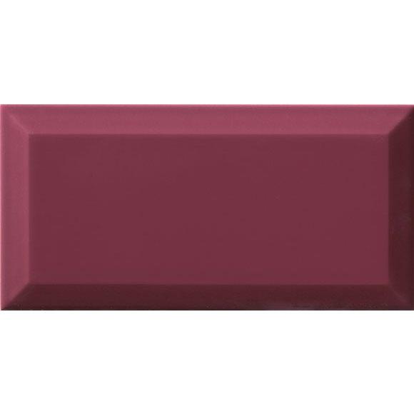 Carrelage Métro biseauté Malva amarante brillant 10x20 cm - 1m² - zoom