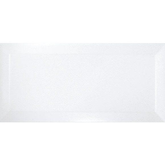 Carrelage métro biseauté blanc brillant 10x20 cm - 1m² - zoom