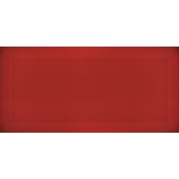 Carrelage Métro biseauté Rojo rouge brillant 10x20 cm - 1m² - zoom