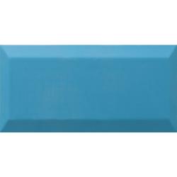Carrelage Métro biseauté Teal bleu céruléen brillant 10x20 cm - 1m² Ribesalbes