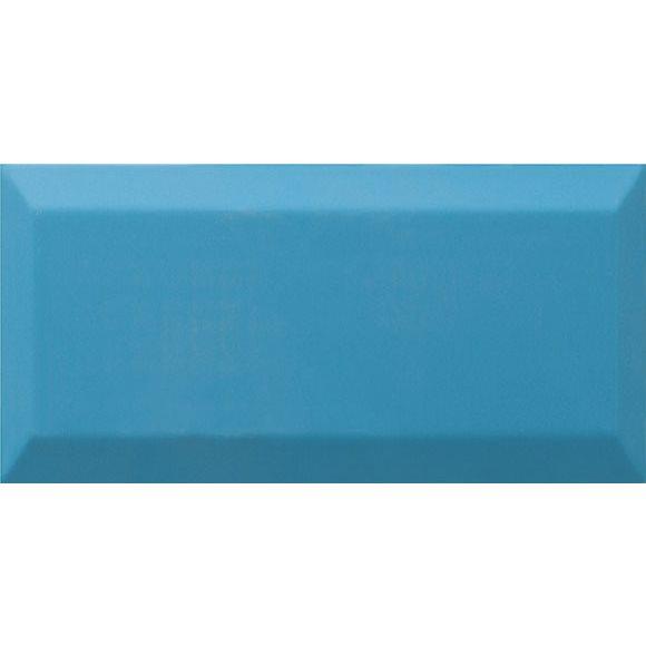 Carrelage Métro biseauté Teal bleu céruléen brillant 10x20 cm - 1m² - zoom