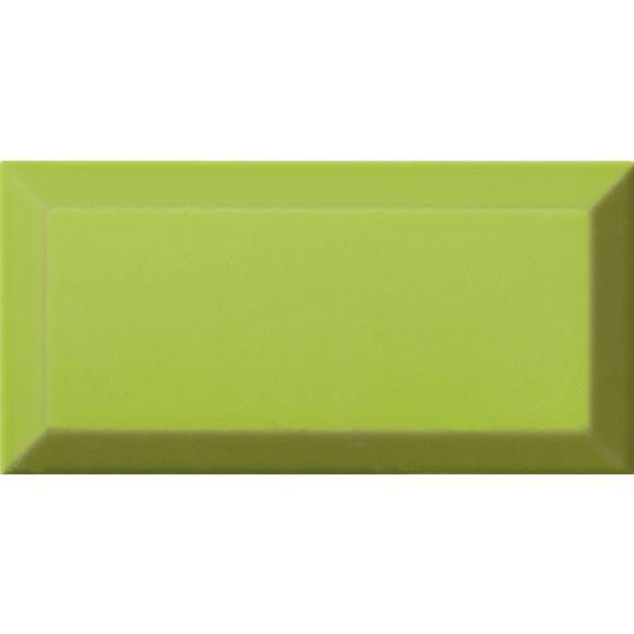 Carrelage Métro biseauté Verde vert tilleul brillant 10x20 cm - 1m² - zoom