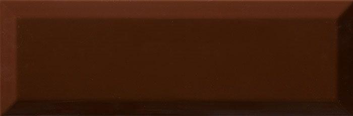 Carrelage Métro biseauté 10x30 cm cacao marron brillant - 1.02m² - zoom