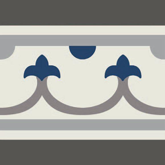 Carrelage imitation ciment bordure décor bleu 20x20 cm PASION CENEFA AZUL - unité - zoom