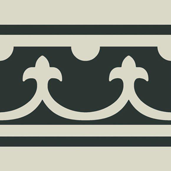 Carrelage imitation ciment bordure décor blanc 20x20 cm PASION CENEFA BLANCO - unité - zoom