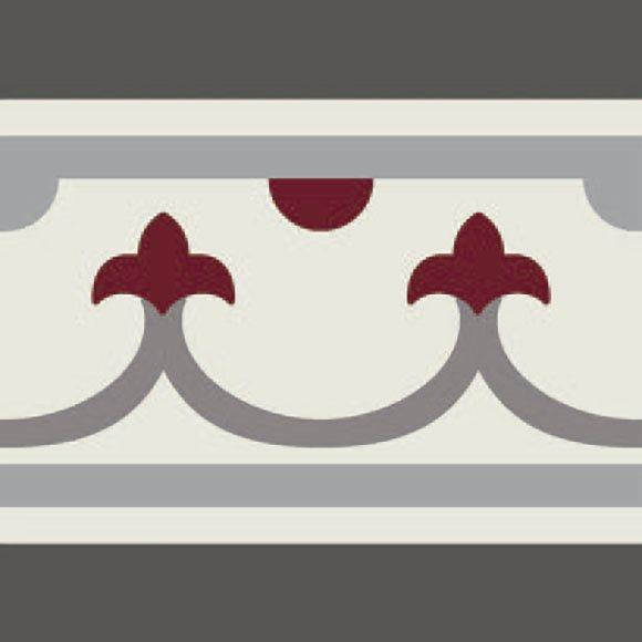Carrelage imitation ciment bordure décor rouge 20x20 cm PASION CENEFA ROJO - unité - zoom