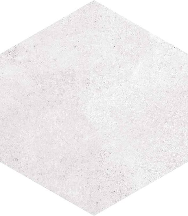 Carrelage hexagonal tomette blanche vieillie 23x26.6cm RIFT Blanche - 0.504m² - zoom