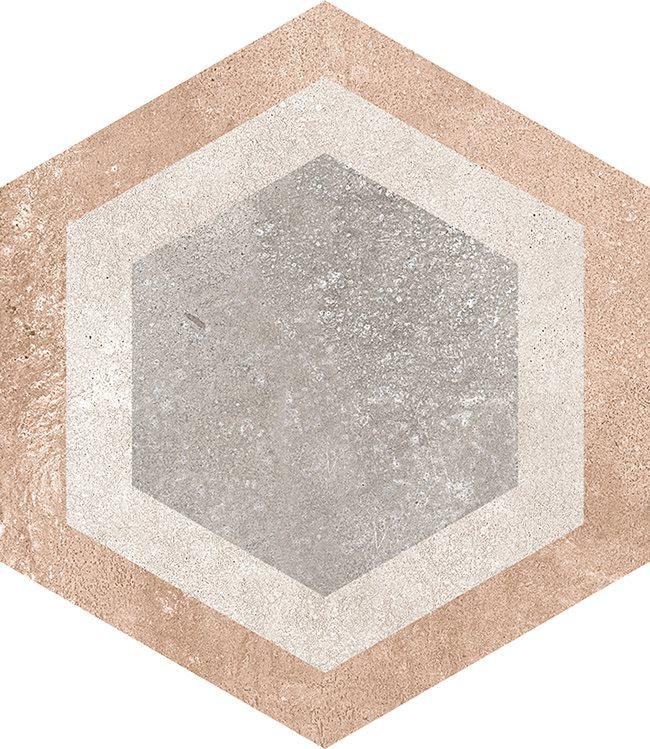 Carrelage hexagonal tomette décor 23x26.6cm BUSHMILLS - 0.504m² - zoom