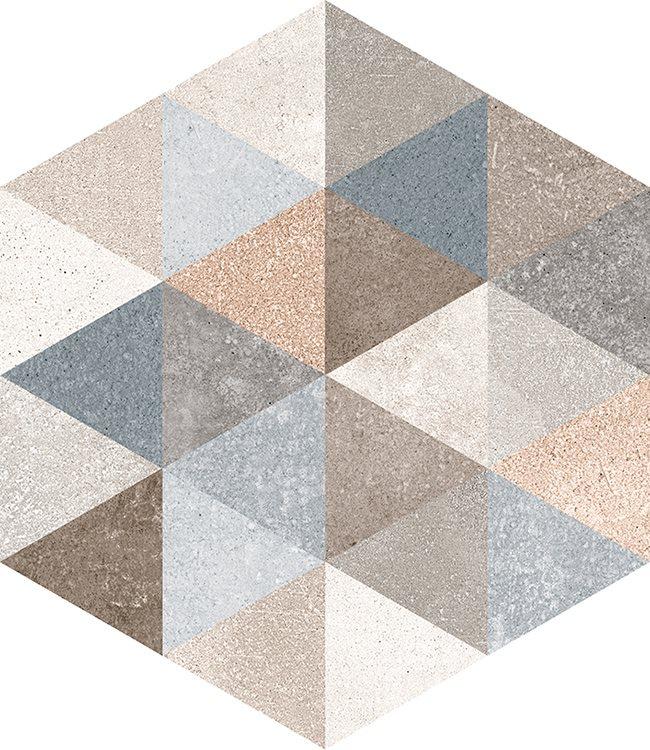 Carrelage hexagonal tomette décor 23x26.6cm FINGAL - 0.504m² - zoom