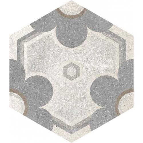 Carrelage hexagonal tomette vieillie décor fleur 23x26.6cm YEREVAN - 0.504m² Vives Azulejos y Gres