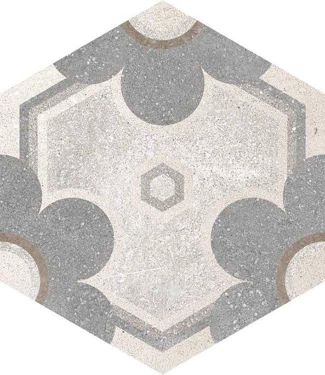 Carrelage hexagonal tomette vieillie décor fleur 23x26.6cm YEREVAN - 0.504m² - zoom