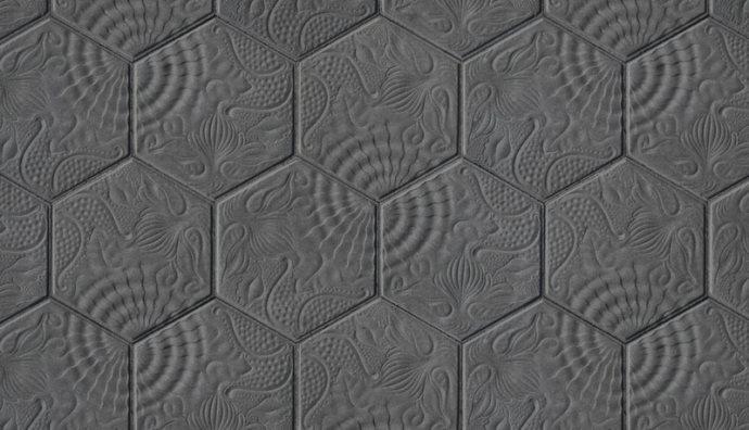 Pavé Gaudi hexagonal de Barcelone 14.4x25 cm ép. 3 cm - unité - zoom